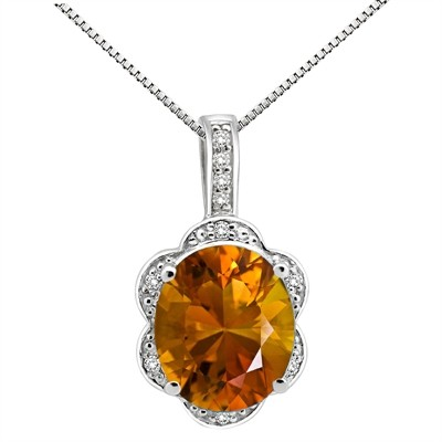 6.01Ct Oval Shaped Citrine and Diamond Pendant in 10K Gold