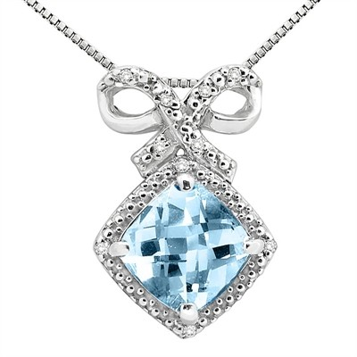 2.67Ct Cushion Shaped Aquamarine and Diamond Pendant in 10K Gold