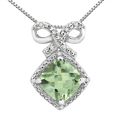 2.67Ct Cushion Shaped Green Amethyst and Diamond Pendant in 10K Gold