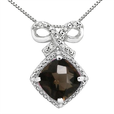 2.67Ct Cushion Shaped Smokey Quartz and Diamond Pendant in 10K Gold