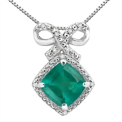 2.67Ct Cushion Shaped Lab Created Emerald and Diamond Pendant in 10K Gold