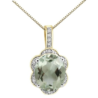 6.01Ct Oval Shaped Green Amethyst and Diamond Pendant in 10K Gold