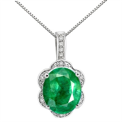 6.01Ct Oval Shaped Lab Created Emerald and Diamond Pendant in 10K Gold