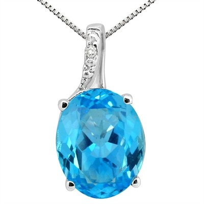 3.45Ct Oval Shaped Blue Topaz and Diamond Pendant in 10K Gold