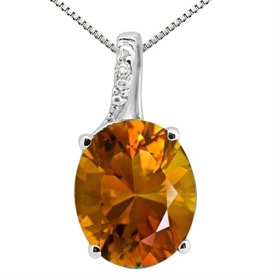 3.45Ct Oval Shaped Citrine and Diamond Pendant in 10K Gold