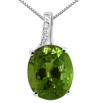 3.45Ct Oval Shaped Peridot and Diamond Pendant in 10K Gold