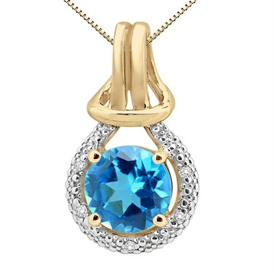 2.48Ct Round Shaped Blue Topaz and Diamond Pendant in 10K Gold