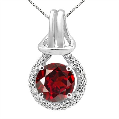2.48Ct Round Shaped Garnet and Diamond Pendant in 10K Gold
