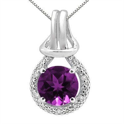 2.48Ct Round Shaped Amethyst and Diamond Pendant in 10K Gold