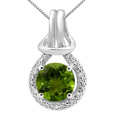 2.48Ct Round Shaped Peridot and Diamond Pendant in 10K Gold