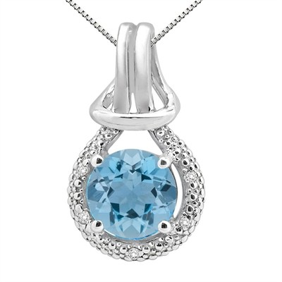 2.48Ct Round Shaped Aquamarine and Diamond Pendant in 10K Gold