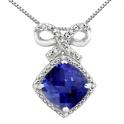 2.67Ct Cushion Shaped Lab Created Sapphire and Diamond Pendant in 10K Gold