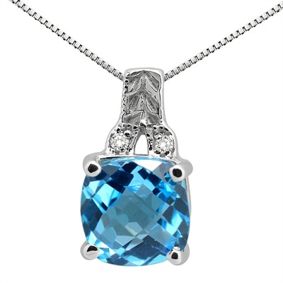 2.75Ct Cushion Shaped Blue Topaz and Round Shaped Diamond Pendant in 10K Gold