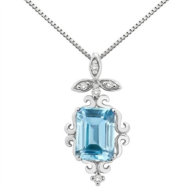 1.65Ct Shaped Aquamarine and Diamond Pendant in 10K Gold