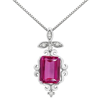 1.65Ct Shaped Pink Topaz and Diamond Pendant in 10K Gold