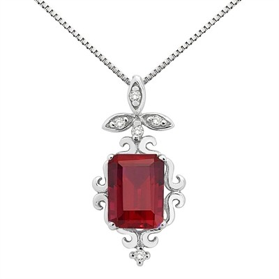 1.65Ct Shaped Lab Created Ruby and Diamond Pendant in 10K Gold