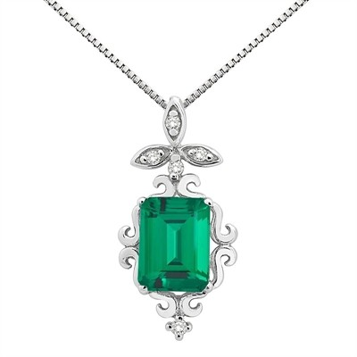 1.65Ct Shaped Lab Created Emerald and Diamond Pendant in 10K Gold