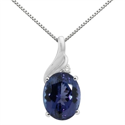 2.16Ct Oval Shaped Lab Created Sapphire and Diamond Pendant in 10K Gold