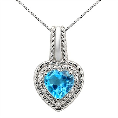 2.15Ct Heart Shaped Blue Topaz and Diamond Pendant in 10K Gold