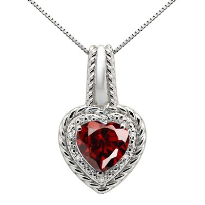 2.15Ct Heart Shaped Garnet and Diamond Pendant in 10K Gold