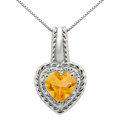 2.15Ct Heart Shaped Citrine and Diamond Pendant in 10K Gold