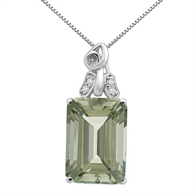 9.40Ct Emerald CutGreen Amethyst and Diamond Pendant in 10K Gold