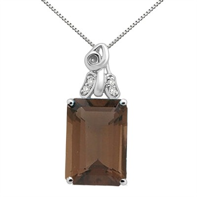 9.40Ct Emerald CutSmokey Quartz and Diamond Pendant in 10K Gold