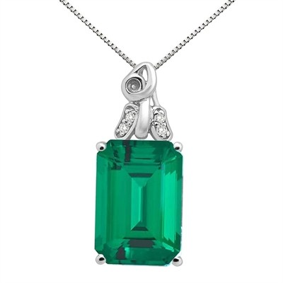 9.40Ct Emerald Cut Lab Created Emerald and Diamond Pendant in 10K Gold