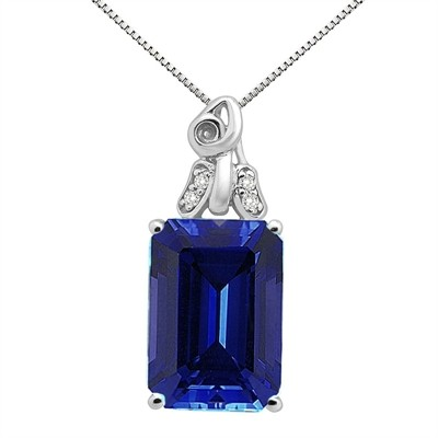 9.40Ct Emerald CutLab Created Sapphire and Diamond Pendant in 10K Gold