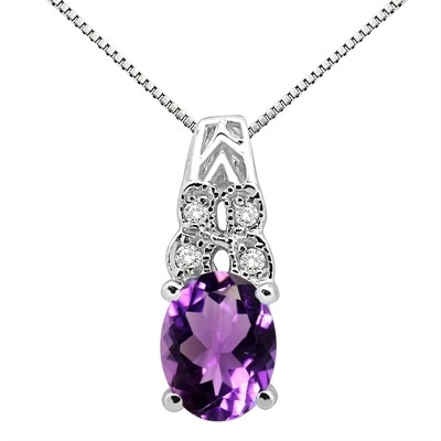 1.48Ct Oval Shaped Amethyst and Diamond Pendant in 10K Gold