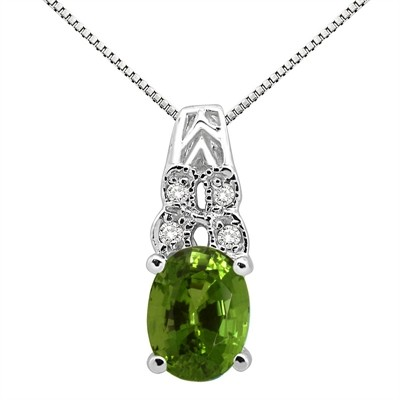 1.48Ct Oval Shaped Peridot and Diamond Pendant in 10K Gold