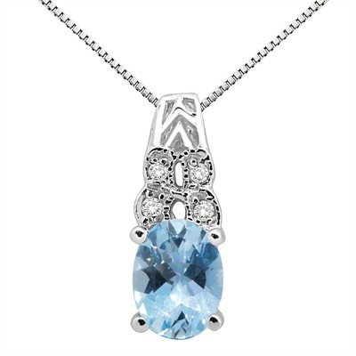 1.48Ct Oval Shaped Aquamarine and Diamond Pendant in 10K Gold