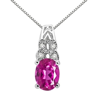 1.48Ct Oval Shaped Pink Topaz and Diamond Pendant in 10K Gold