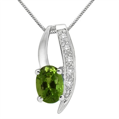 1.10Ct Oval Shaped Peridot and Diamond Pendant in 10K Gold