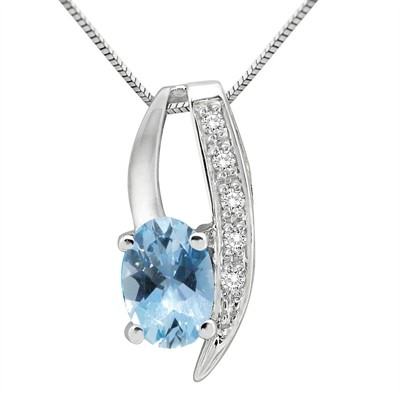 1.10Ct Oval Shaped Aquamarine and Diamond Pendant in 10K Gold