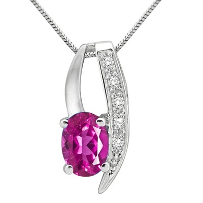 1.10Ct Oval Shaped Pink Topaz and Diamond Pendant in 10K Gold