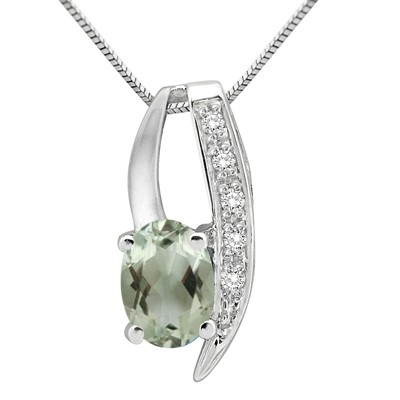 1.10Ct Oval Shaped Green Amethyst and Diamond Pendant in 10K Gold