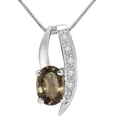 1.10Ct Oval Shaped Smokey Quartz and Diamond Pendant in 10K Gold