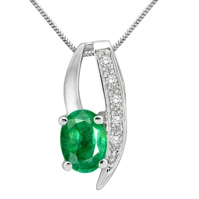 1.10Ct Oval Shaped Emerald and Diamond Pendant in 10K Gold