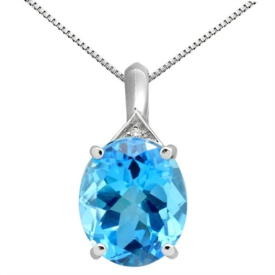 5.49Ct Oval Shaped Blue Topaz and Diamond Pendant in 10K Gold