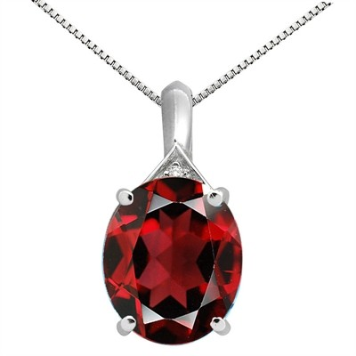 5.49Ct Oval Shaped Garnet and Diamond Pendant in 10K Gold