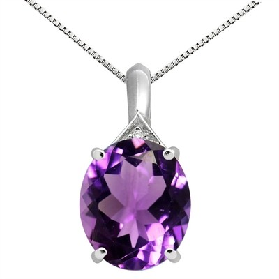 5.49Ct Oval Shaped Amethyst and Diamond Pendant in 10K Gold