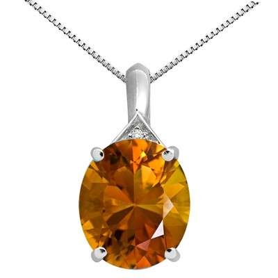 5.49Ct Oval Shaped Citrine and Diamond Pendant in 10K Gold