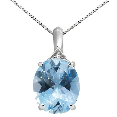 5.49Ct Oval Shaped Aquamarine and Diamond Pendant in 10K Gold