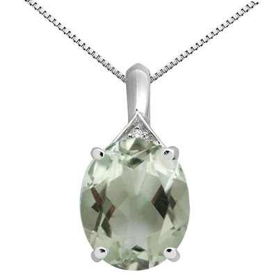 5.49Ct Oval Shaped Green Amethyst and Diamond Pendant in 10K Gold