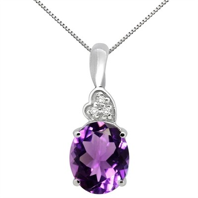 4.90Ct Oval Shaped Amethyst and Diamond Pendant in 10K Gold