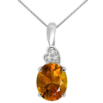4.90Ct Oval Shaped Citrine and Diamond Pendant in 10K Gold