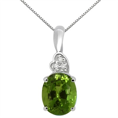 4.90Ct Oval Shaped Peridot and Diamond Pendant in 10K Gold