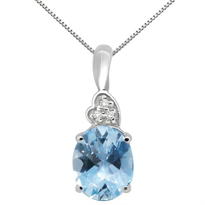 4.90Ct Oval Shaped Aquamarine and Diamond Pendant in 10K Gold