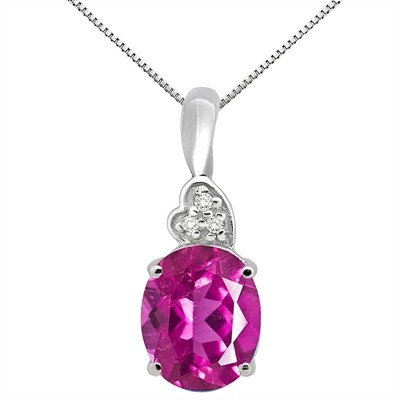 4.90Ct Oval Shaped Pink Topaz and Diamond Pendant in 10K Gold